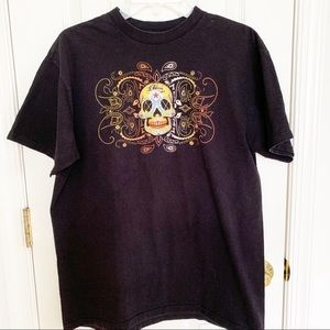 Billabong Multicolor Embroidered Skull Graphic Tee